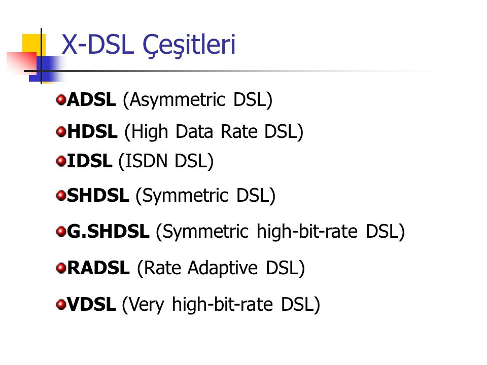 X-DSL Çeşitleri ADSL (Asymmetric DSL) HDSL (High Data Rate DSL)