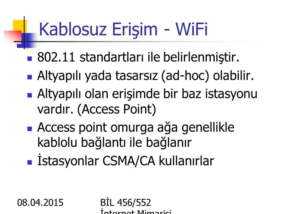 Kablosuz Erişim - WiFi 802.11 standartları ile belirlenmiştir.