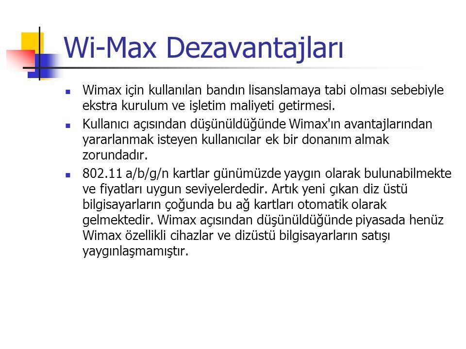 Wi-Max Dezavantajları