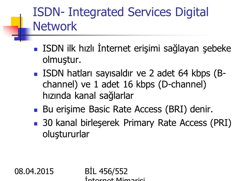 ISDN- Integrated Services Digital Network