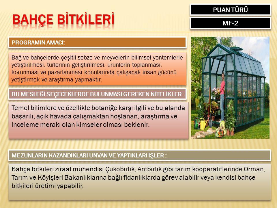 Bahçe bİTKİLERİ PUAN TÜRÜ MF-2