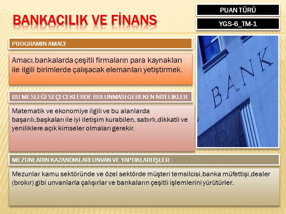 PUAN TÜRÜ BANKACILIK VE FİNANS. YGS-6_TM-1. PROGRAMIN AMACI:
