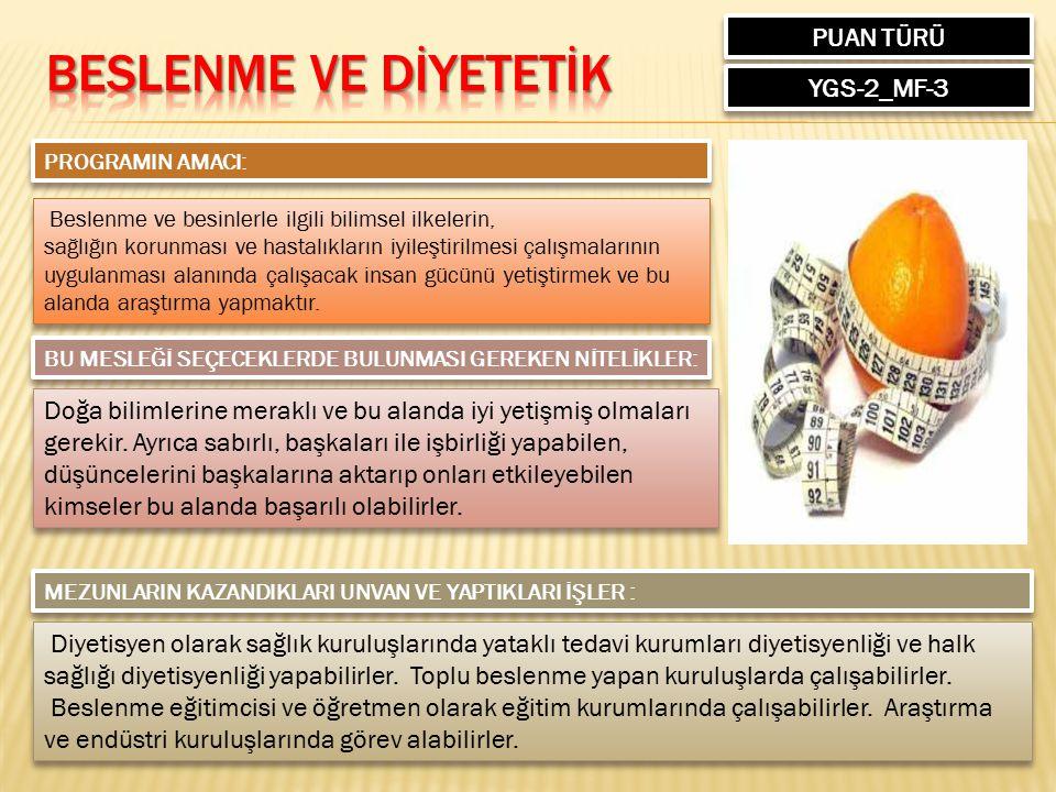 Beslenme ve dİYETETİK PUAN TÜRÜ YGS-2_MF-3
