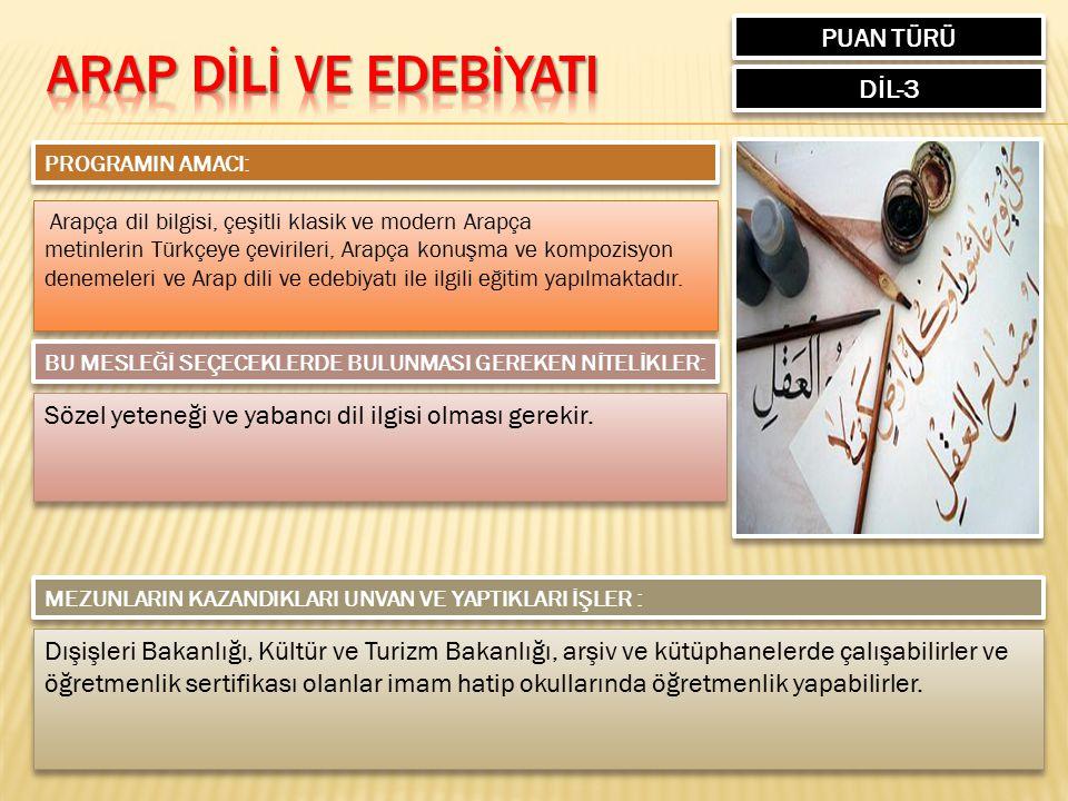ARAP DİLİ VE EDEBİYATI PUAN TÜRÜ DİL-3