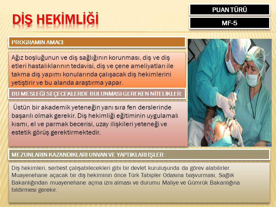 DİŞ HEKİMLİĞİ PUAN TÜRÜ MF-5