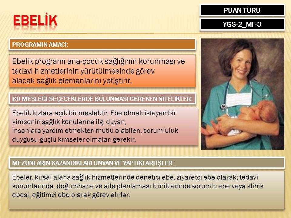 PUAN TÜRÜ EBELİK. YGS-2_MF-3. PROGRAMIN AMACI: Ebelik programı ana-çocuk sağlığının korunması ve tedavi hizmetlerinin yürütülmesinde görev.