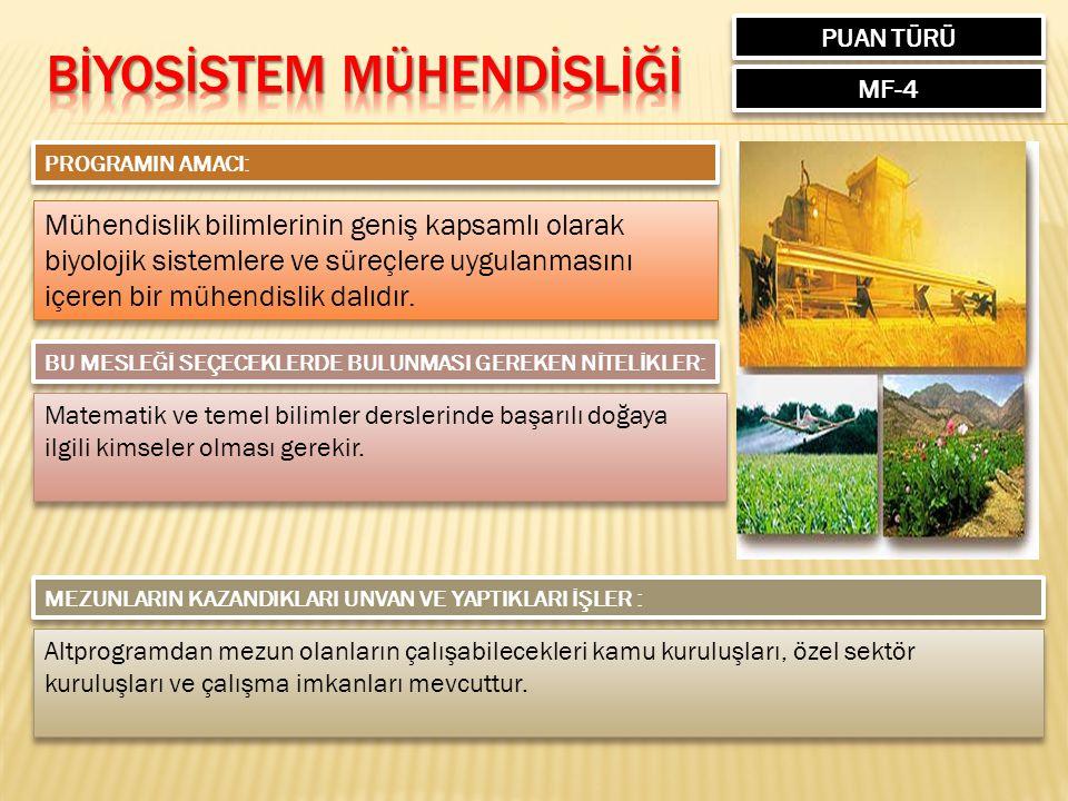 BİYOSİSTEM MÜHENDİSLİĞİ