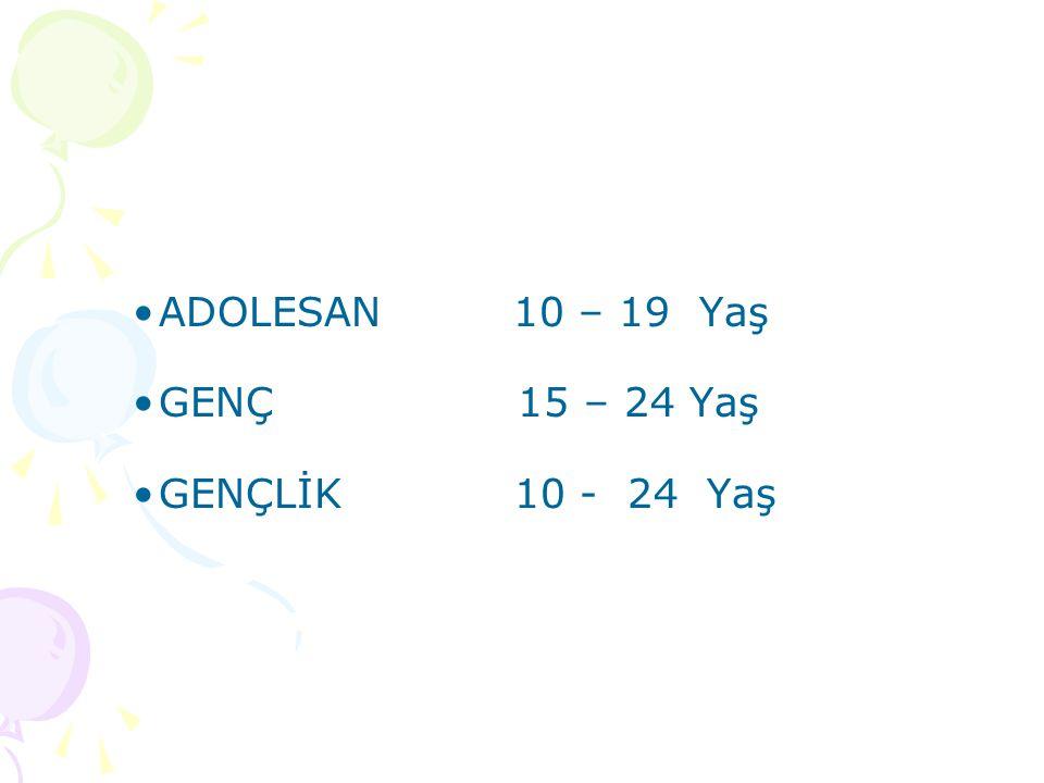 ADOLESAN 10 – 19 Yaş GENÇ 15 – 24 Yaş GENÇLİK 10 - 24 Yaş
