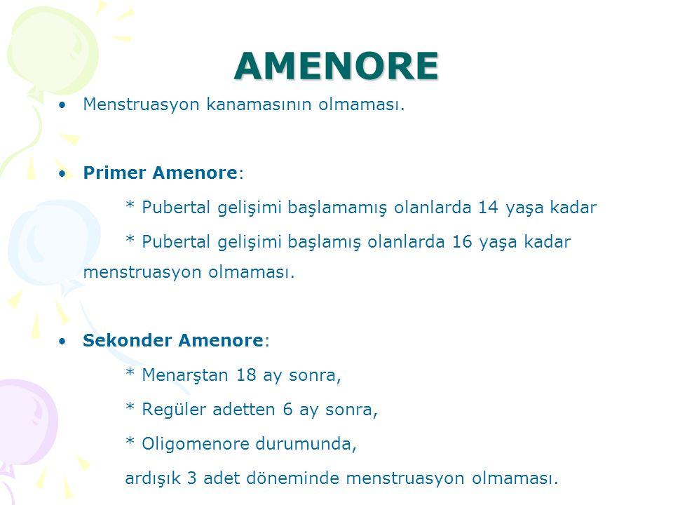 AMENORE Menstruasyon kanamasının olmaması. Primer Amenore:
