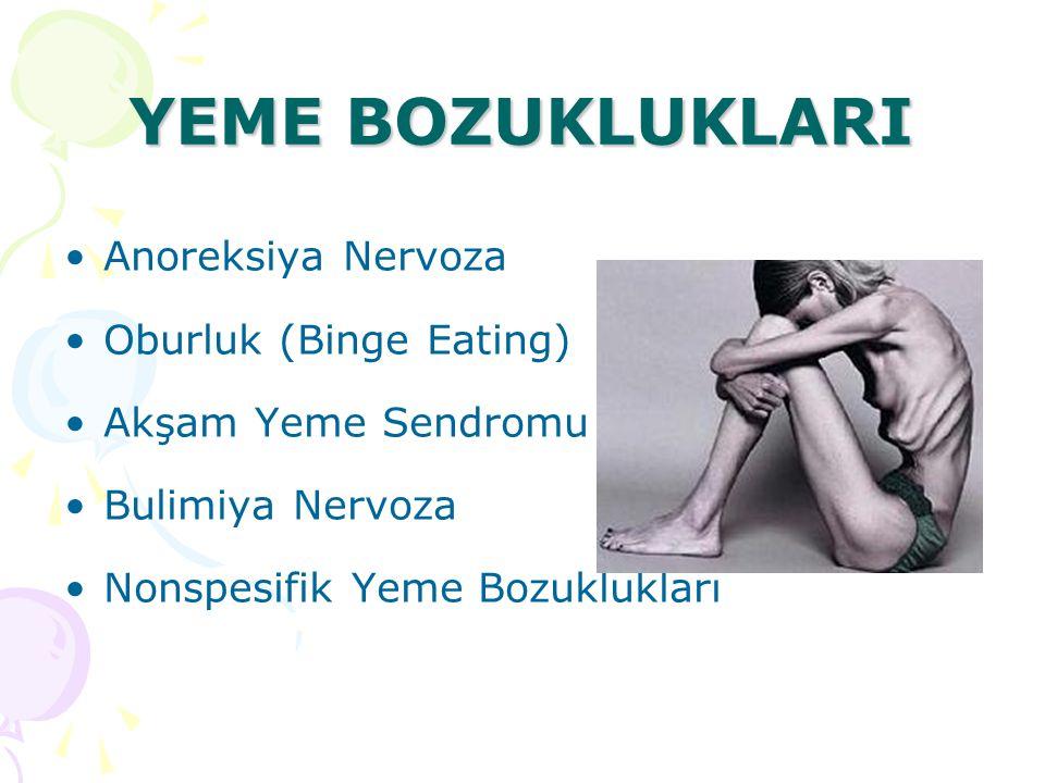 YEME BOZUKLUKLARI Anoreksiya Nervoza Oburluk (Binge Eating)