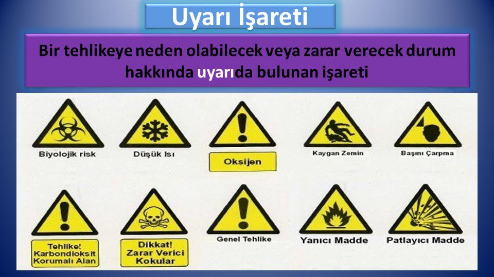 Uyarı İşareti Bir tehlikeye neden olabilecek veya zarar verecek durum hakkında uyarıda bulunan işareti.