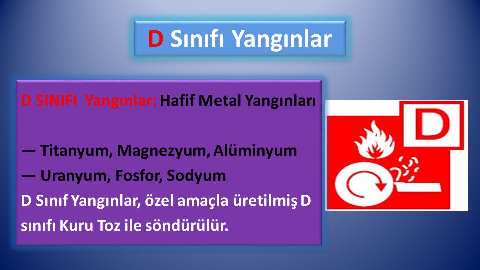 D Sınıfı Yangınlar D SINIFI Yangınlar: Hafif Metal Yangınları