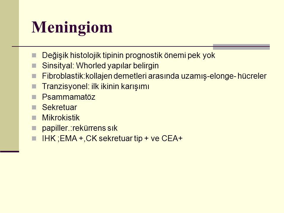 Meningiom Değişik histolojik tipinin prognostik önemi pek yok