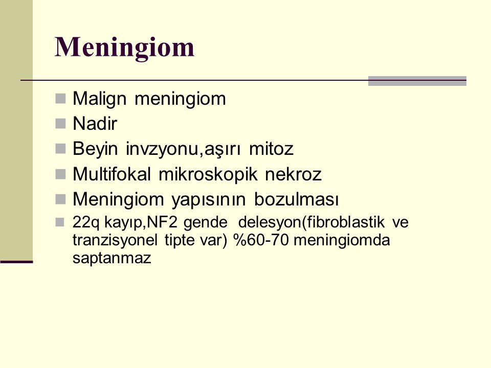 Meningiom Malign meningiom Nadir Beyin invzyonu,aşırı mitoz