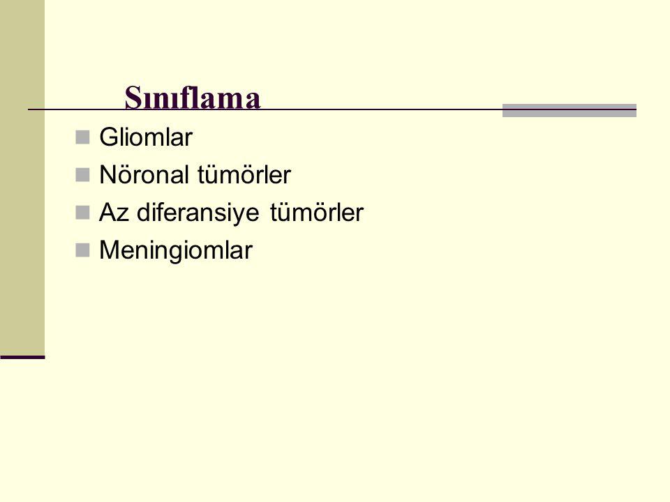 Sınıflama Gliomlar Nöronal tümörler Az diferansiye tümörler