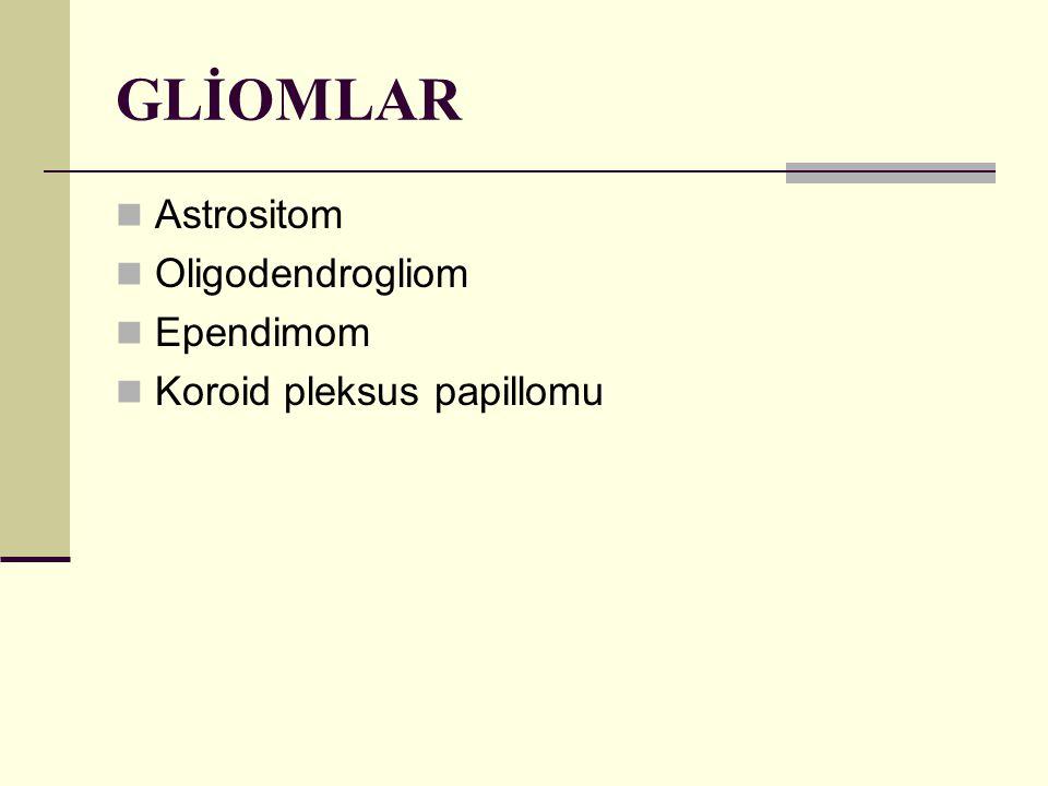 GLİOMLAR Astrositom Oligodendrogliom Ependimom