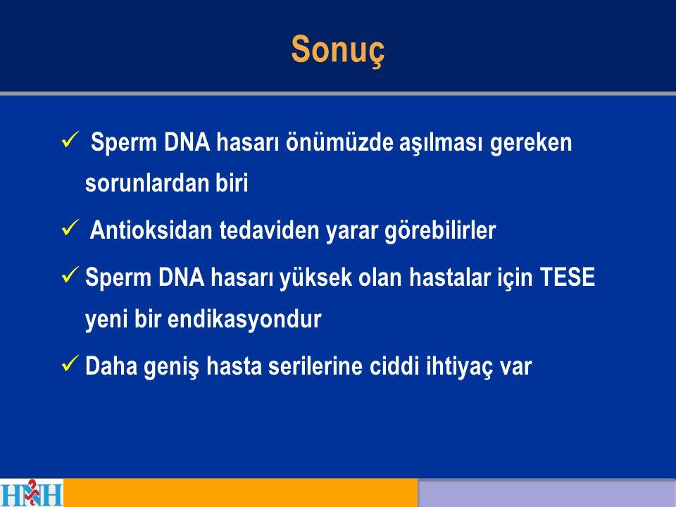 Sonuç Sperm DNA hasarı önümüzde aşılması gereken sorunlardan biri