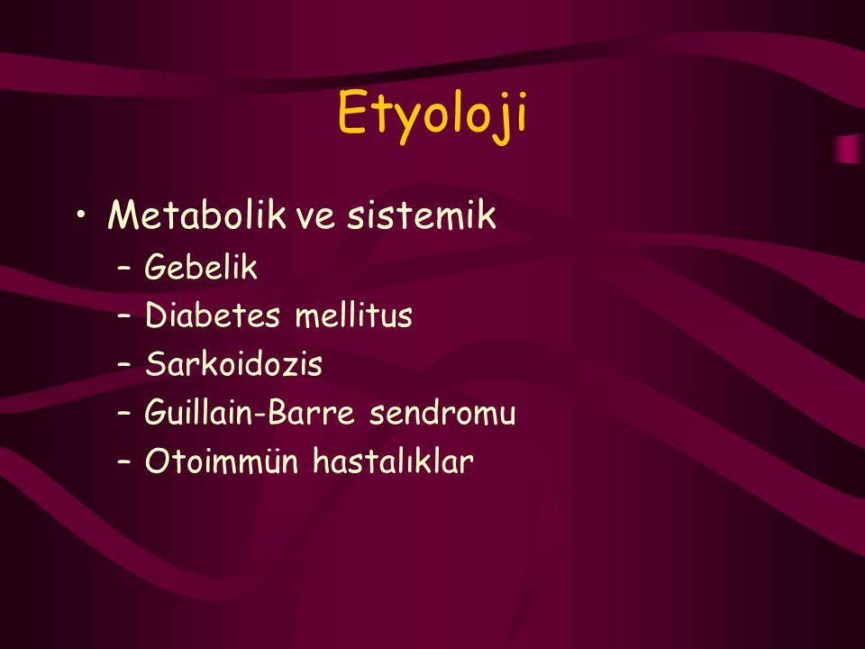 Etyoloji Metabolik ve sistemik Gebelik Diabetes mellitus Sarkoidozis
