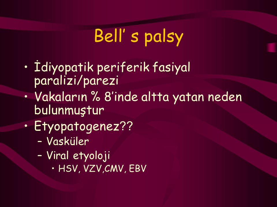 Bell' s palsy İdiyopatik periferik fasiyal paralizi/parezi