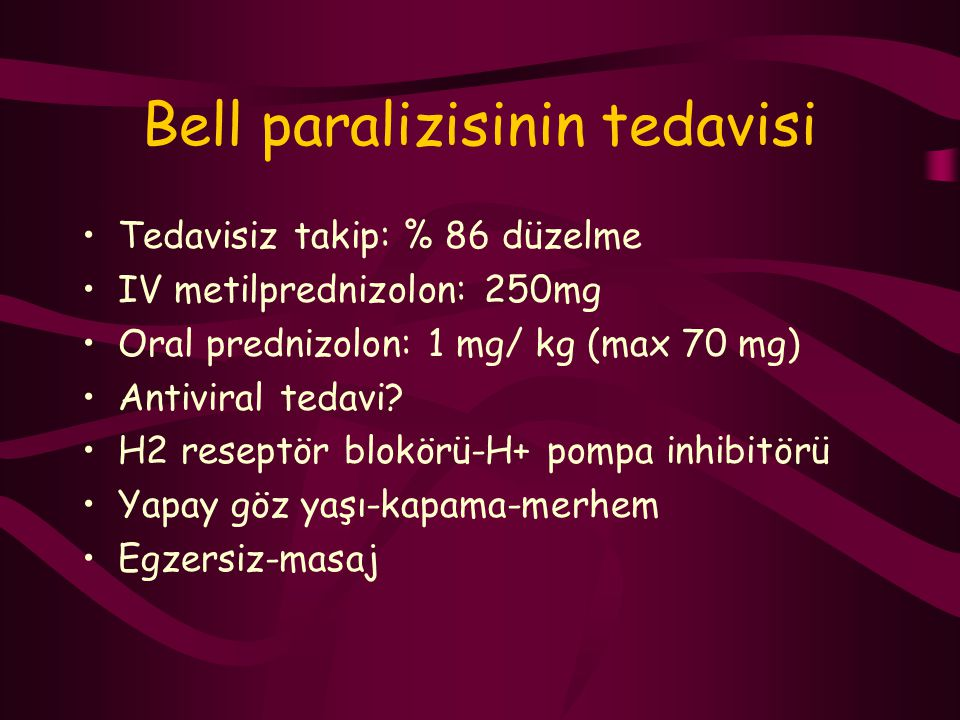 Bell paralizisinin tedavisi