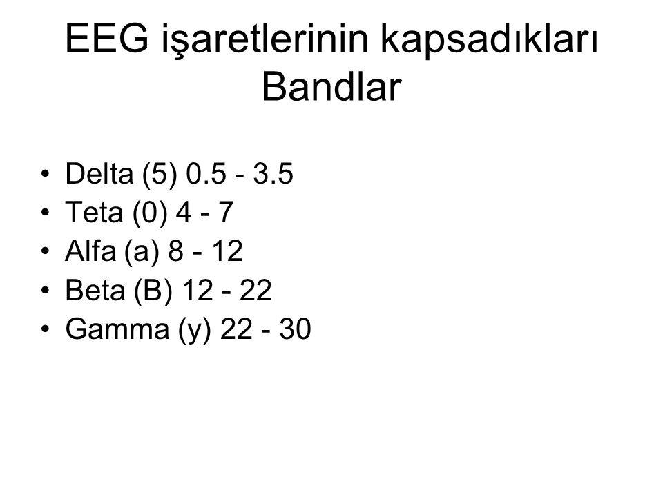EEG işaretlerinin kapsadıkları Bandlar