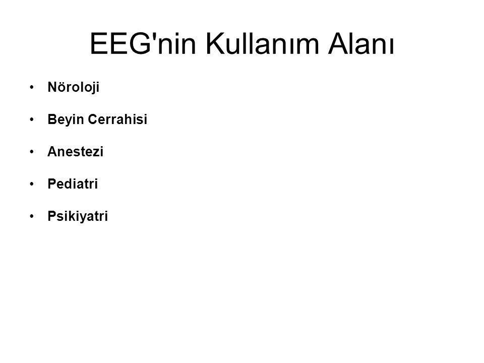 EEG nin Kullanım Alanı Nöroloji Beyin Cerrahisi Anestezi Pediatri
