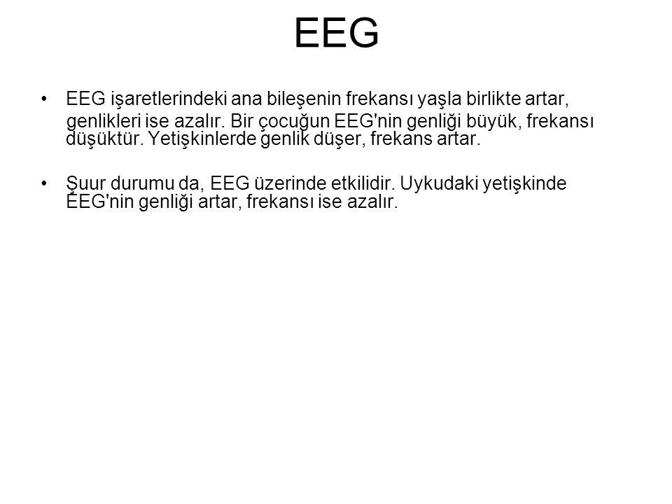 EEG EEG işaretlerindeki ana bileşenin frekansı yaşla birlikte artar,