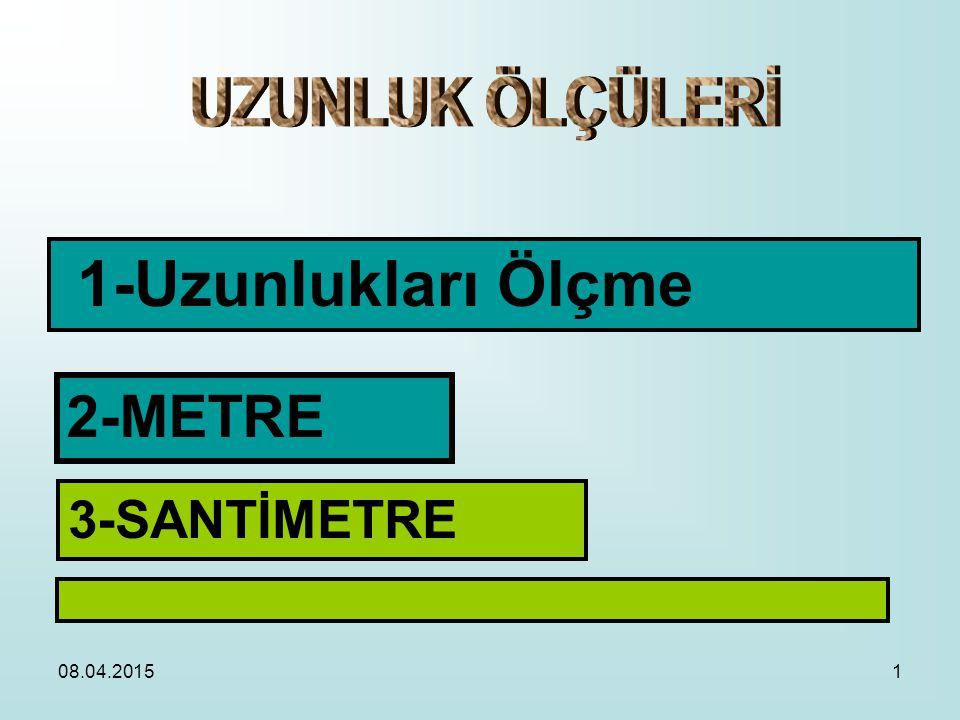 UZUNLUK ÖLÇÜLERİ 1-Uzunlukları Ölçme 2-METRE 3-SANTİMETRE 10.04.2017