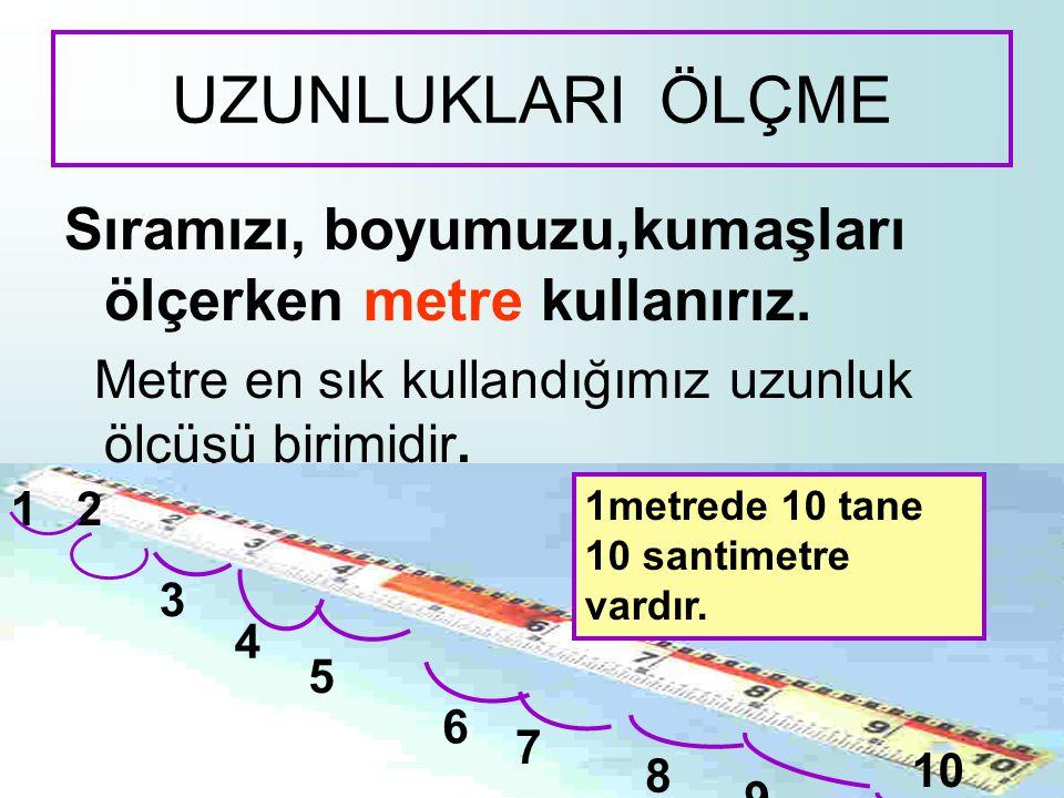 UZUNLUKLARI ÖLÇME Sıramızı, boyumuzu,kumaşları ölçerken metre kullanırız. Metre en sık kullandığımız uzunluk ölçüşü birimidir.