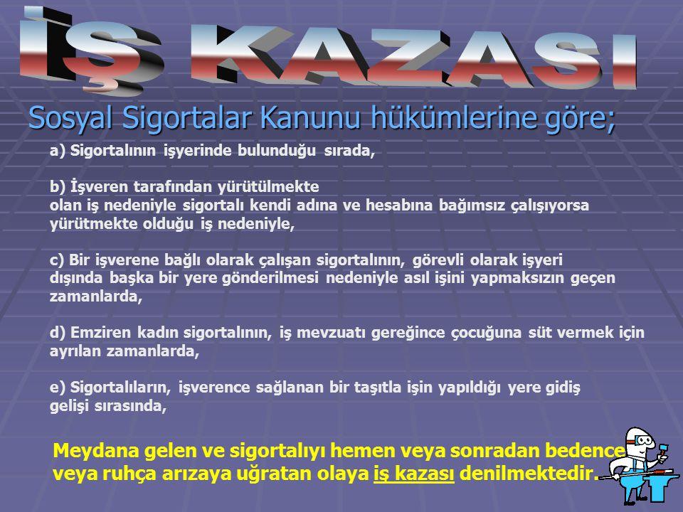 İŞ KAZASI Sosyal Sigortalar Kanunu hükümlerine göre;