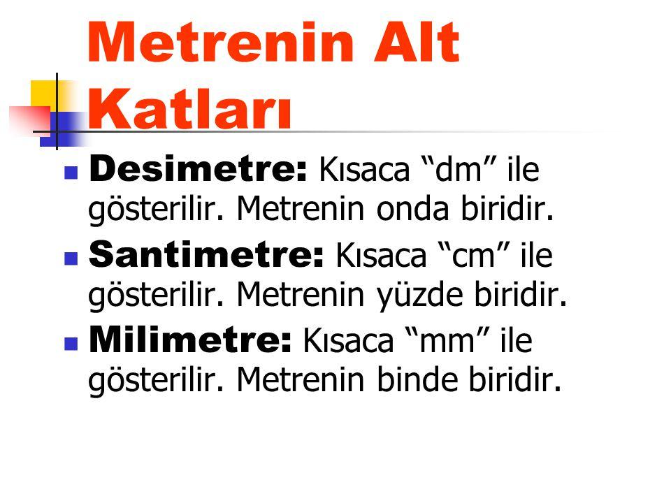 Metrenin Alt Katları Desimetre: Kısaca dm ile gösterilir. Metrenin onda biridir. Santimetre: Kısaca cm ile gösterilir. Metrenin yüzde biridir.