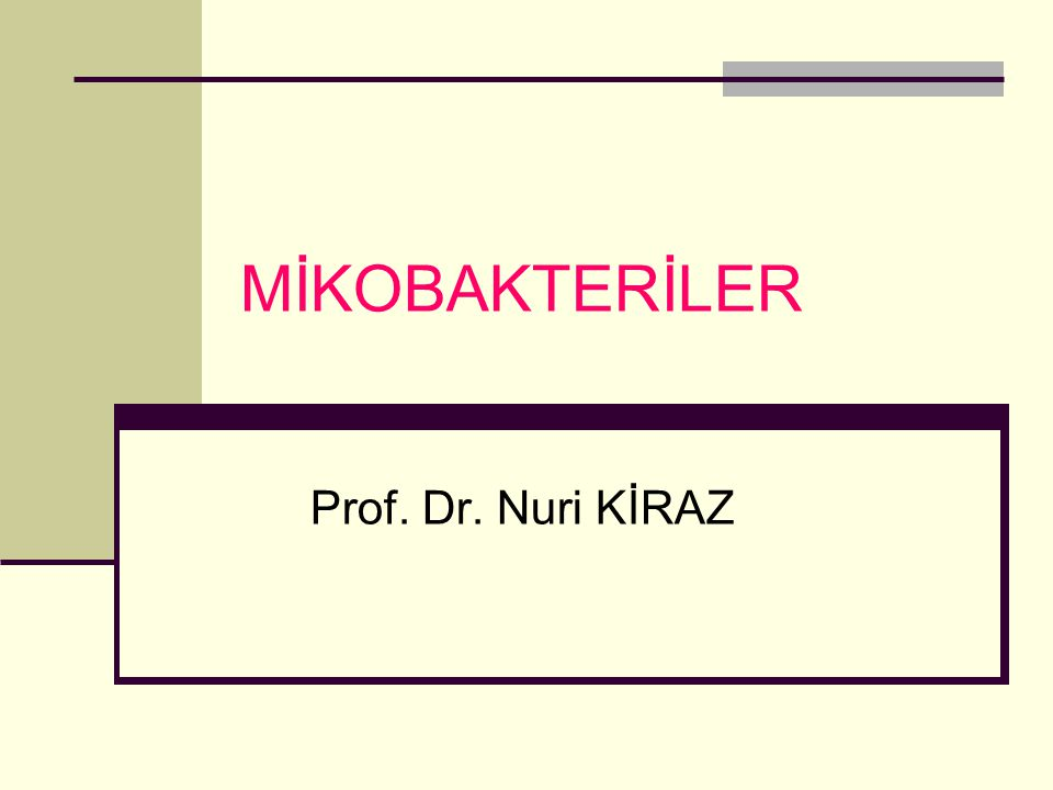 MİKOBAKTERİLER Prof. Dr. Nuri KİRAZ