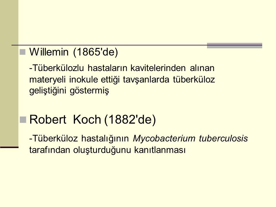 Willemin (1865 de) -Tüberkülozlu hastaların kavitelerinden alınan materyeli inokule ettiği tavşanlarda tüberküloz geliştiğini göstermiş.