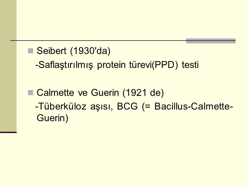 Seibert (1930 da) -Saflaştırılmış protein türevi(PPD) testi.