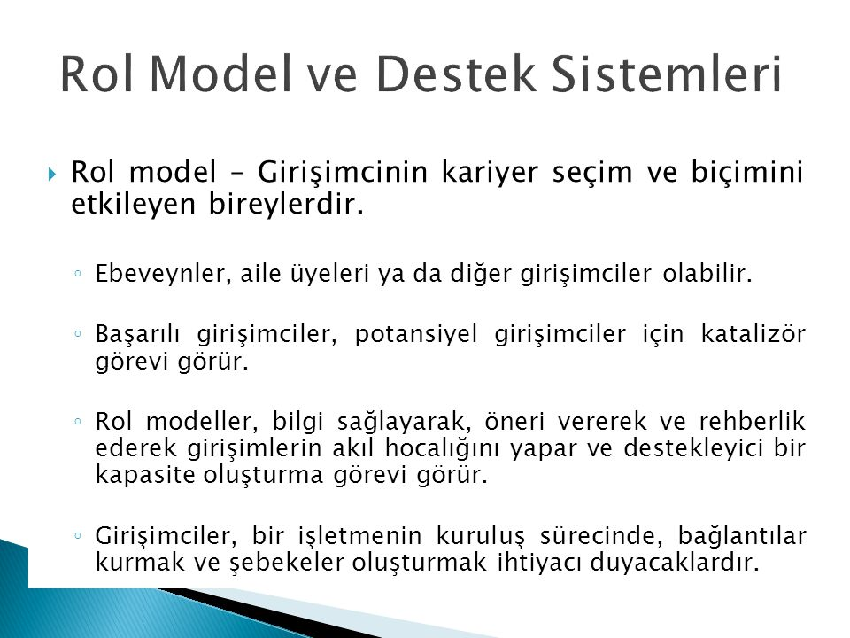 Rol Model ve Destek Sistemleri