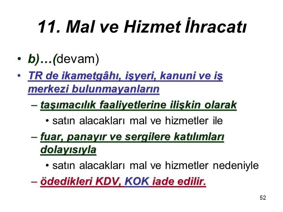 11. Mal ve Hizmet İhracatı b)…(devam)