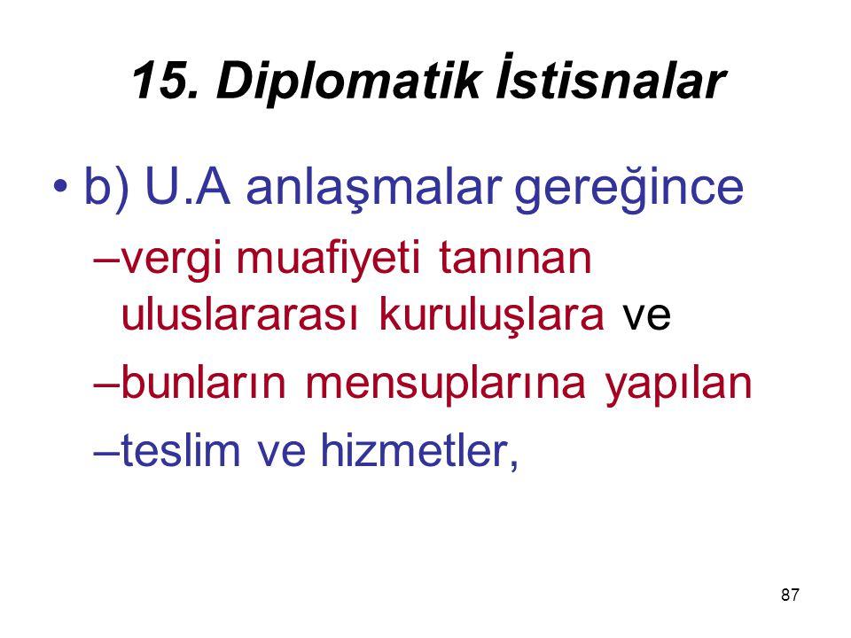 15. Diplomatik İstisnalar