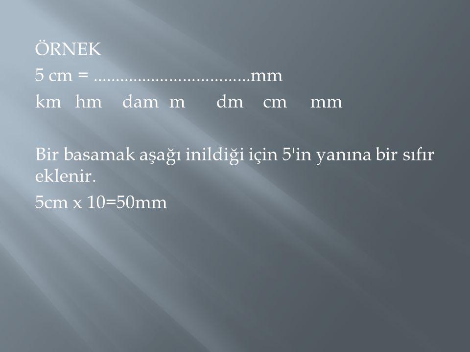 ÖRNEK 5 cm = ...................................mm km hm dam m dm cm mm Bir basamak aşağı inildiği için 5 in yanına bir sıfır eklenir.