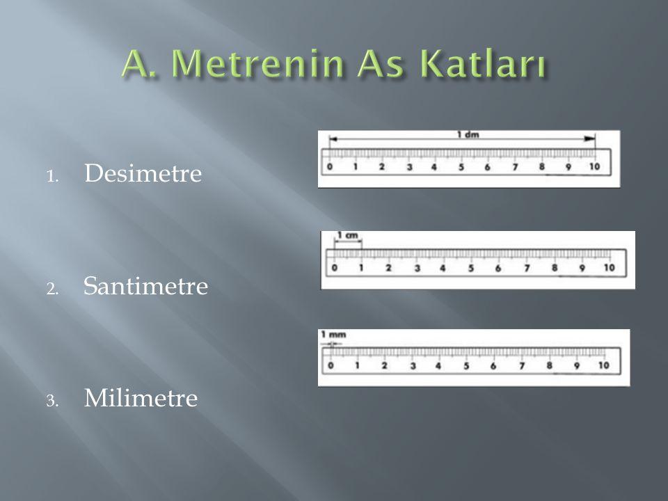 A. Metrenin As Katları Desimetre Santimetre Milimetre