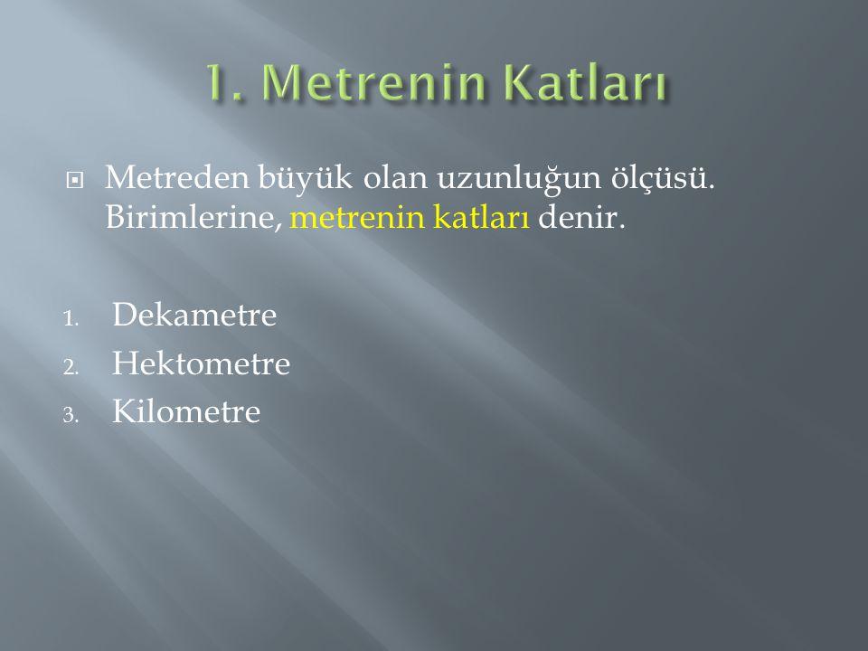 1. Metrenin Katları Metreden büyük olan uzunluğun ölçüsü. Birimlerine, metrenin katları denir. Dekametre.