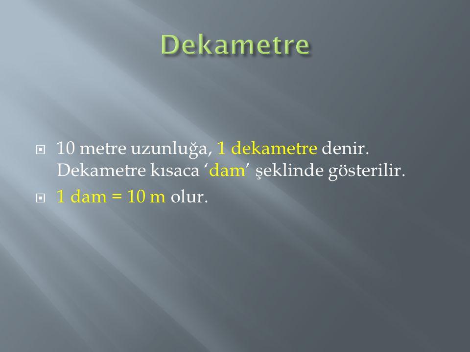 Dekametre 10 metre uzunluğa, 1 dekametre denir. Dekametre kısaca 'dam' şeklinde gösterilir.