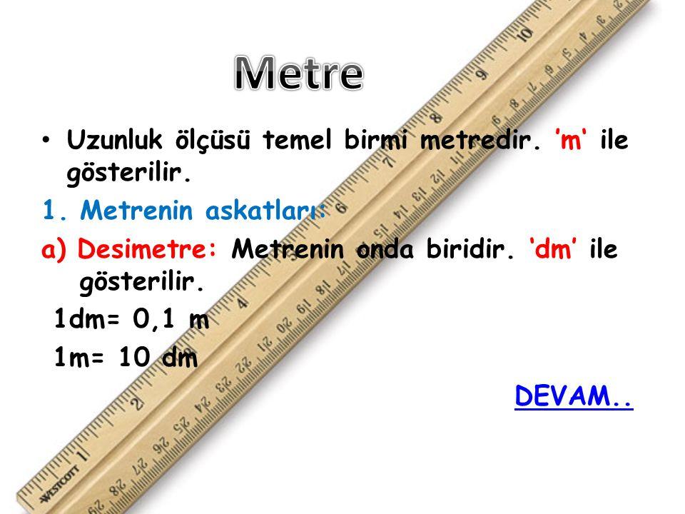 Metre Uzunluk ölçüsü temel birmi metredir. 'm' ile gösterilir.