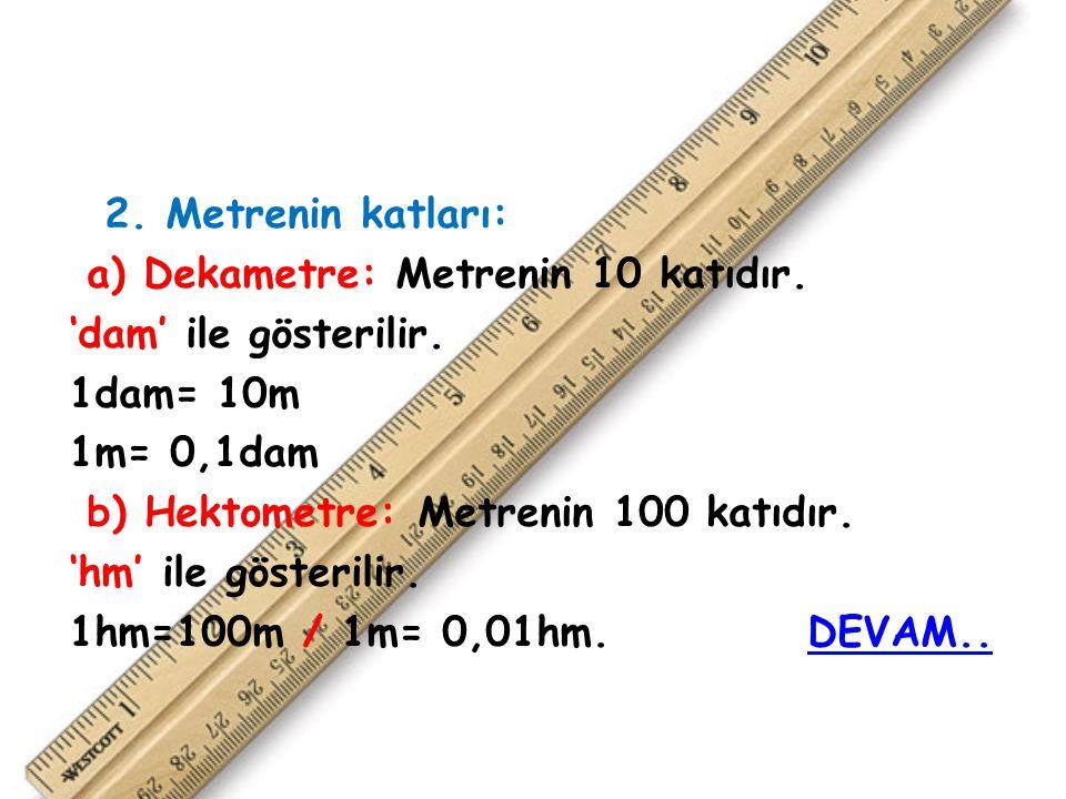 2. Metrenin katları: a) Dekametre: Metrenin 10 katıdır