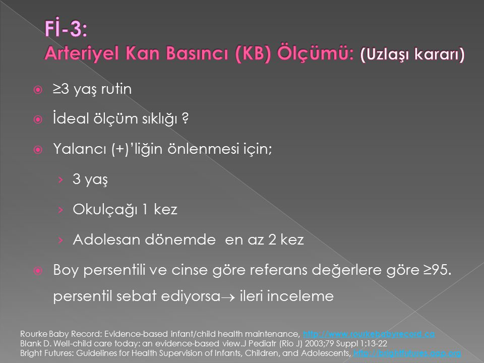 Fİ-3: Arteriyel Kan Basıncı (KB) Ölçümü: (Uzlaşı kararı)