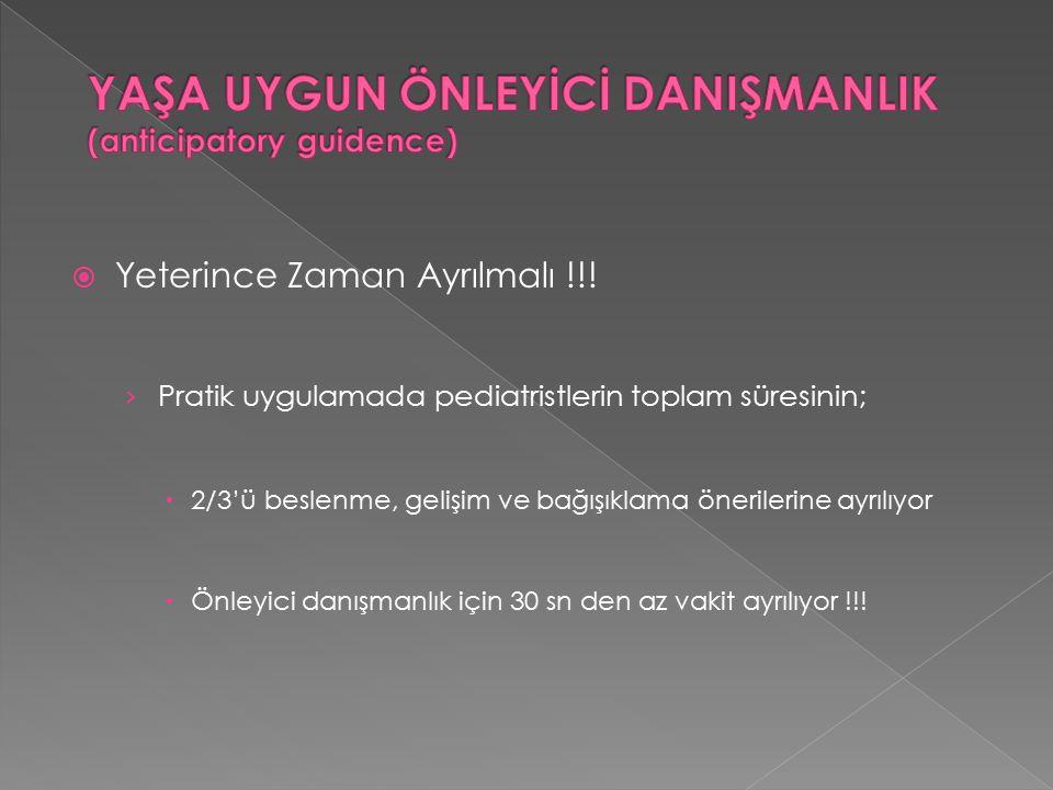 YAŞA UYGUN ÖNLEYİCİ DANIŞMANLIK (anticipatory guidence)