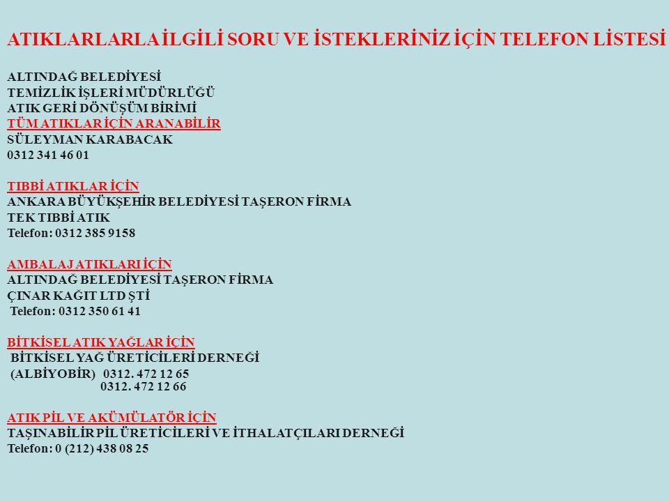 ATIKLARLARLA İLGİLİ SORU VE İSTEKLERİNİZ İÇİN TELEFON LİSTESİ