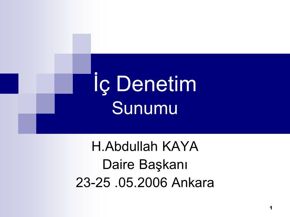 H.Abdullah KAYA Daire Başkanı 23-25 .05.2006 Ankara
