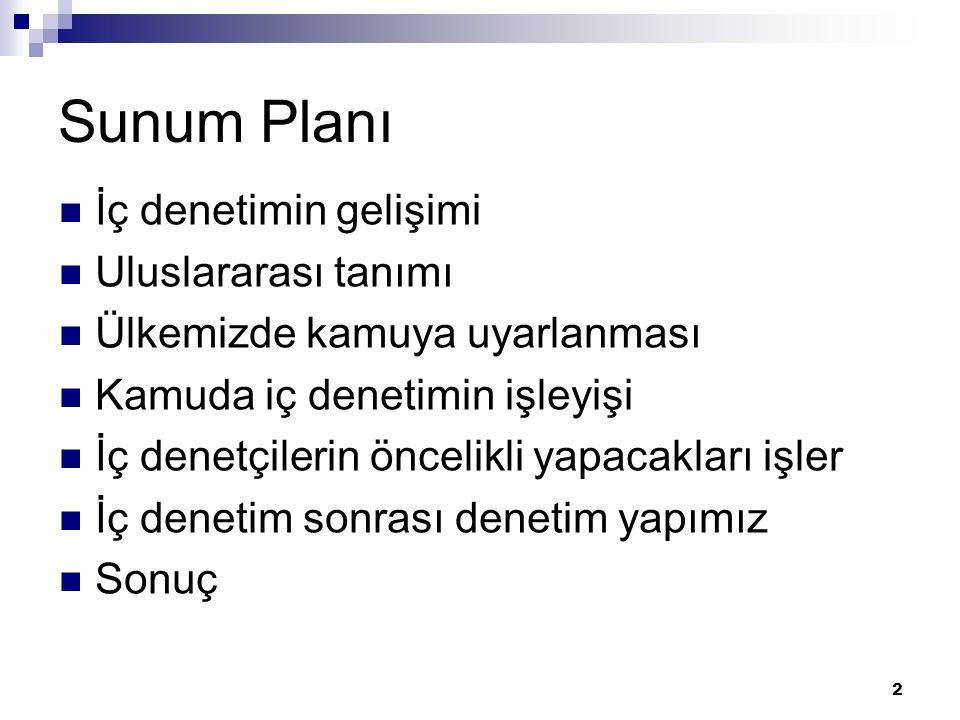 Sunum Planı İç denetimin gelişimi Uluslararası tanımı