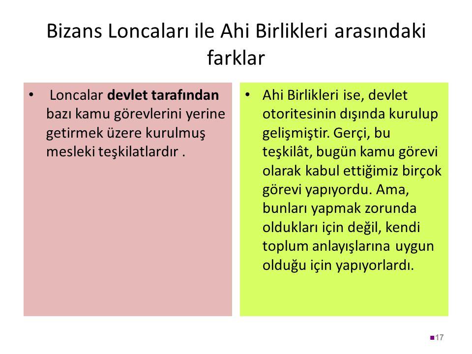 Bizans Loncaları ile Ahi Birlikleri arasındaki farklar