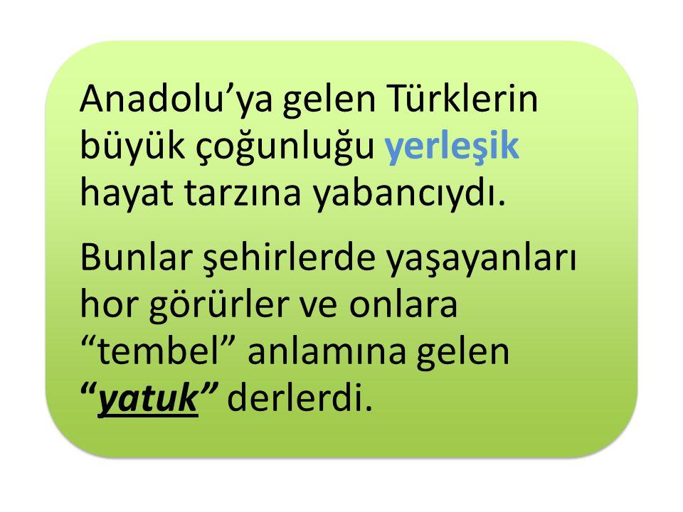 Anadolu'ya gelen Türklerin büyük çoğunluğu yerleşik hayat tarzına yabancıydı.